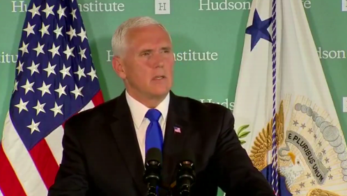 US-Vizepräsident Mike Pence bei seiner China-Rede im Hudson Institute in Washington