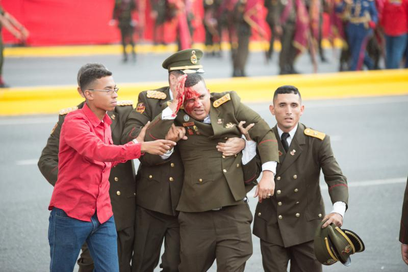 Bei dem Anschlag in Caracas, Venezuela, wurden nach offiziellen Angaben sieben Militärs verletzt