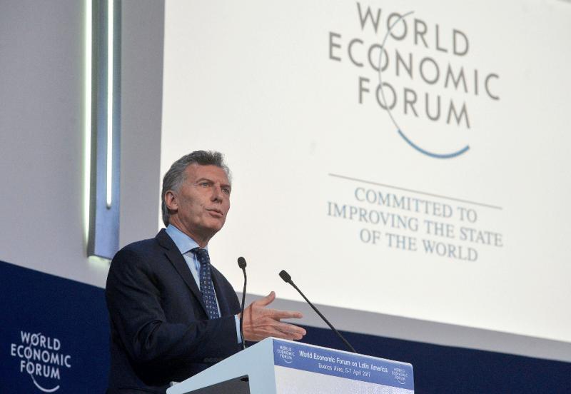 Argentiniens Präsident Macri beim Weltwirtschaftsforum in Davos (2017)