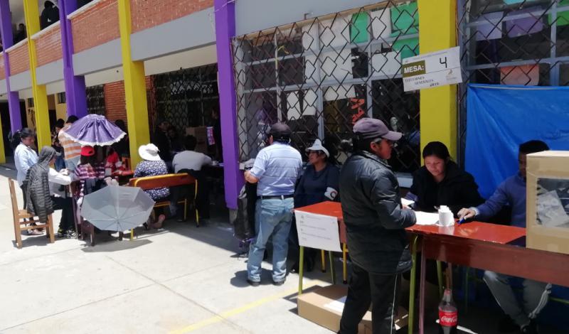 Wahllokal in einer Schule im Statdtteil Villa Fátima in La Paz