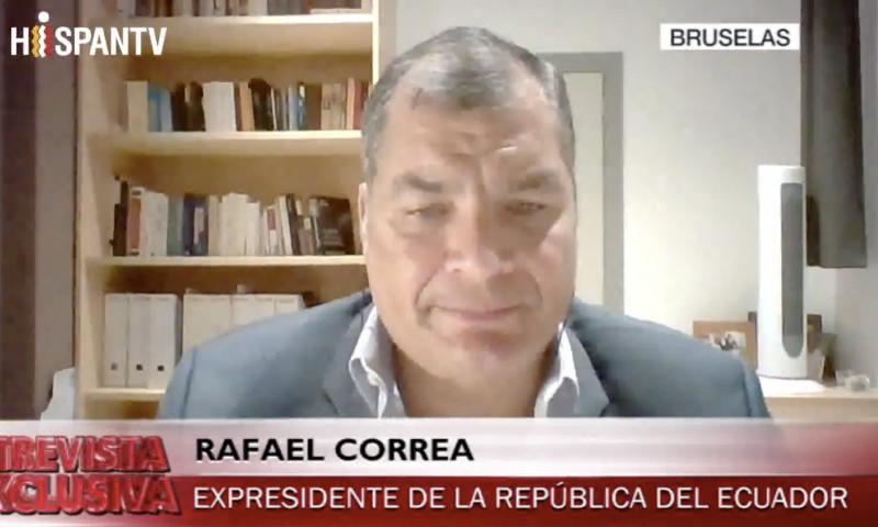 Der ehemalige Präsident von Ecuador, Rafael Correa, in dieser Woche bei einem Interview mit dem Sender HispanTV (Screenshot)