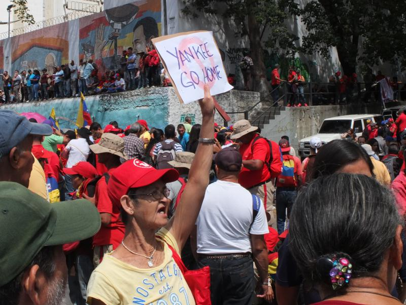 Auf der Demonstration in Caracas am 23.2.2019