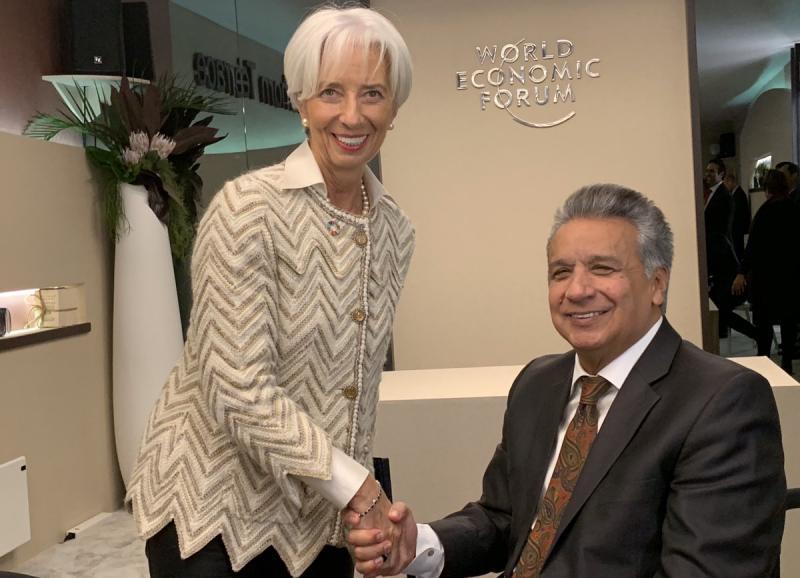 IWF-Chefin Christine Lagarde traf im Januar mit Ecuadors Präsident Lenín Moreno beim Weltwirtschaftsforum in Davos zusammen