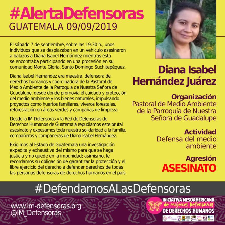 Die Umwelt- und Menschenrechtsaktivistin Diana Isabel Hernández wurde am 7. September in Guatemala erschossen