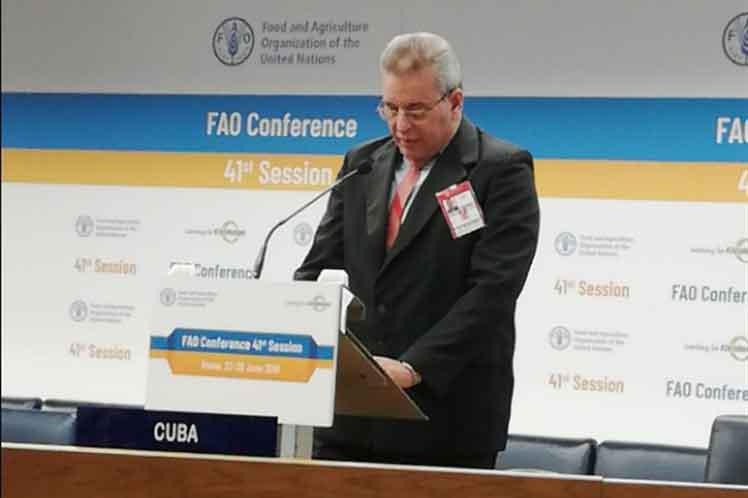 Kubas Landwirtschaftsminister Rodríguez bei der 41. Tagung der Konferenz der FAO in Rom
