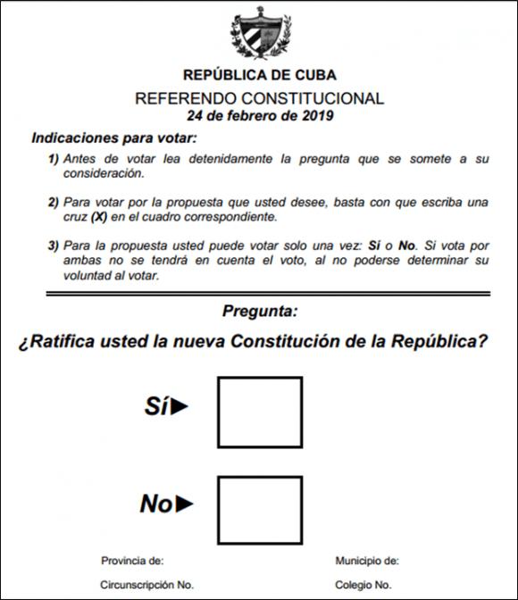 """Abstimmungszettel für das Verfassungsreferendum in Kuba: """"Bestätigen Sie die neue Verfassung der Republik?"""" """"Ja"""" oder """"Nein"""""""