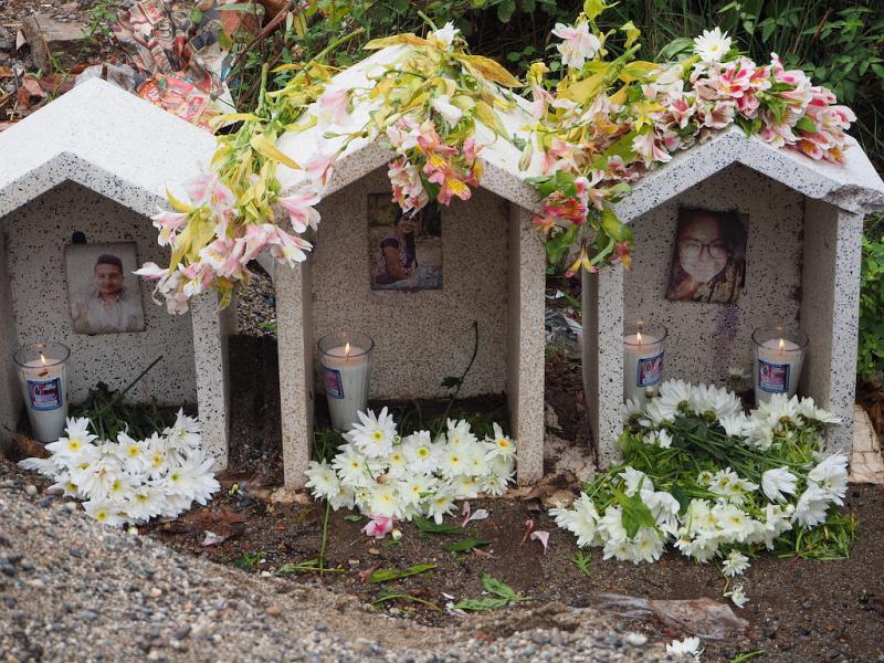 Schrein für die drei Ermordeten in Juchitán de Zaragoza, Oaxaca