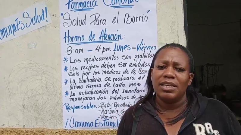 Ärztin im Barrio Altos de Lídice. Die dortige Kommune hat eine Apotheke mit gespendeten Medikamenten aus Chile aufgebaut