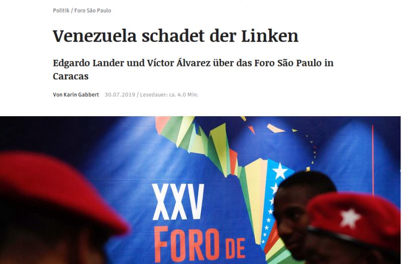 Das Interview Gabberts mit Lander und Álvarez erschien am 30. Juli 2019 in der Tageszeitung Neues Deutschland (Screenshot)