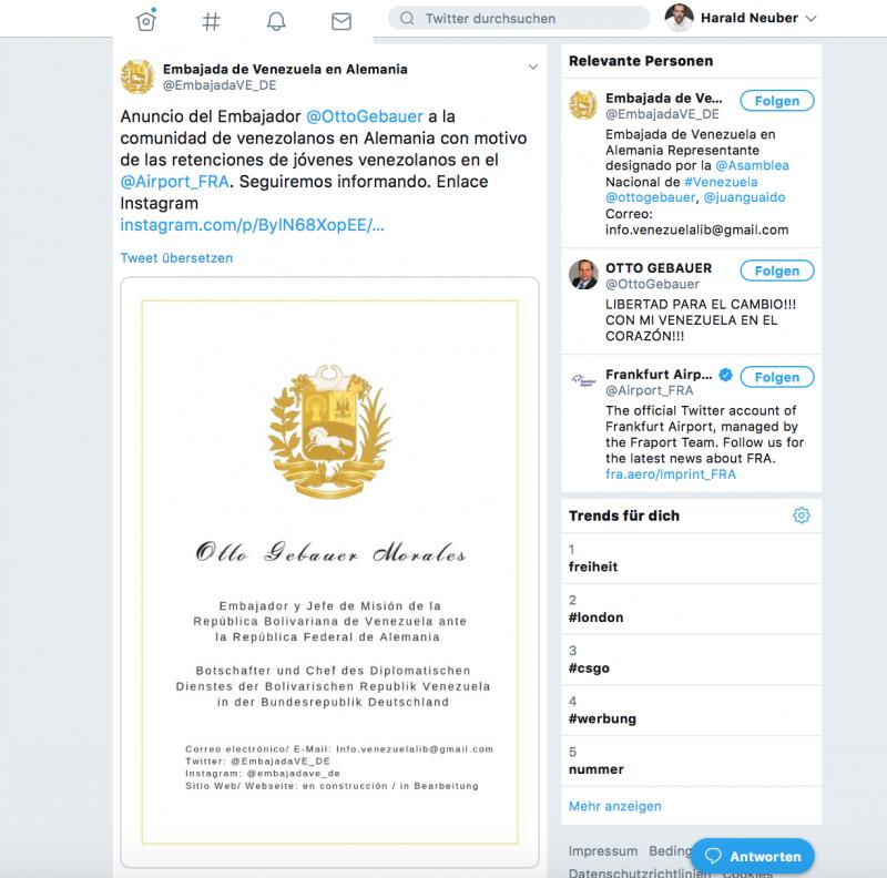 Gülden, aber wertlos: Selbstdarstellung von Otto Gebauer, dem Vertreter des selbsternannten Interimspräsidenten von Venezuela