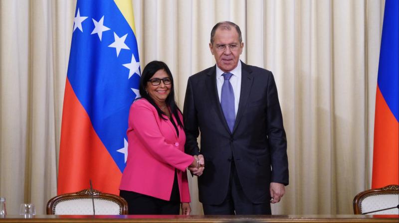 Zu Gast bei Freunden: Rodríguez mit russischem Amtskollegen Lawrow