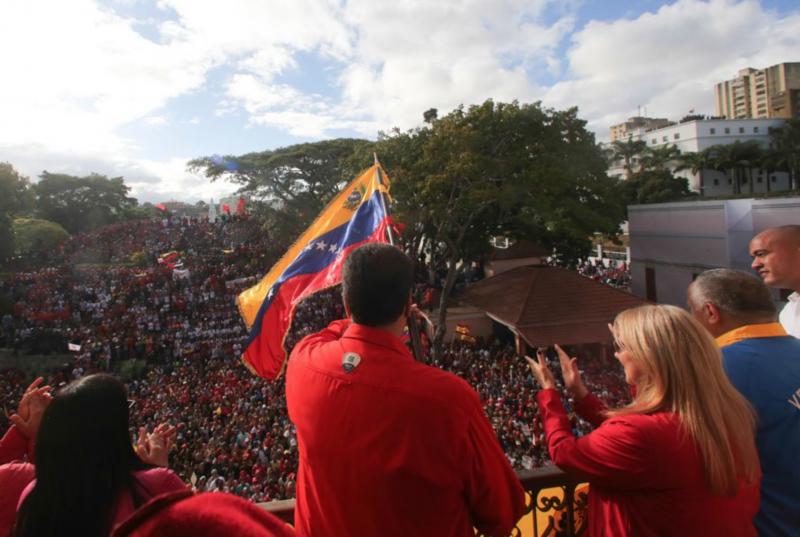 Präsident Maduro am Mittwoch vor Anhängern in Caracas, Venezuela