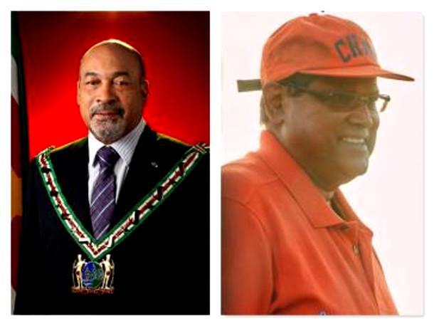 Chan Santokhi (rechts) hat mit seiner Partei die meisten Stimmen errungen, Amtsinhaber Dési Bouterse (links) will aber noch nicht abtreten.