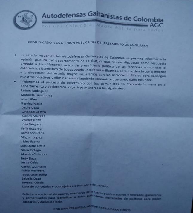 """AGC-Paramilitärs kündigten """"Ausrottungsprozess der Kommunisten und CH-Mitglieder"""" an"""