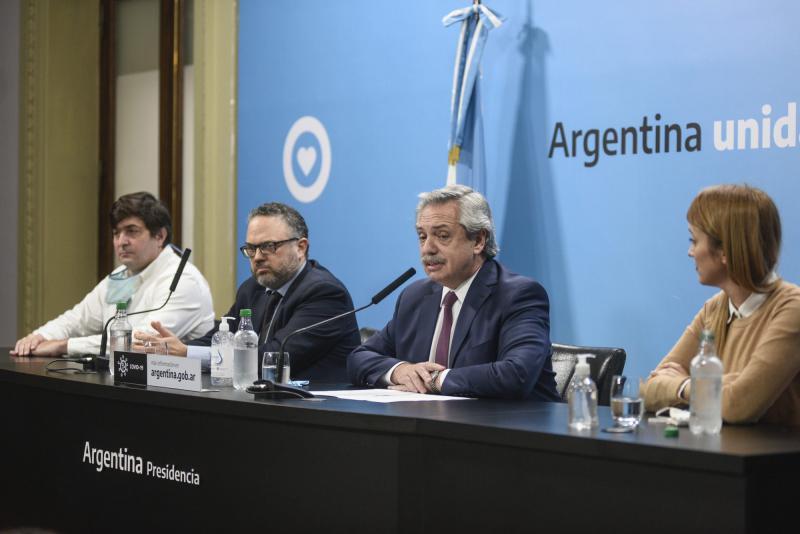 Präsident Fernández bei der Pressekonferenz, bei der er Einzelheiten zur geplanten Verstaatlichung des Agrarkonzerns Vicentín bekanntgab