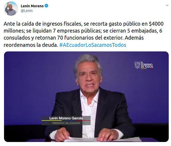 Die neuen Kürzungen gab Moreno am 19. Mai im Fernsehen und über Twitter bekannt