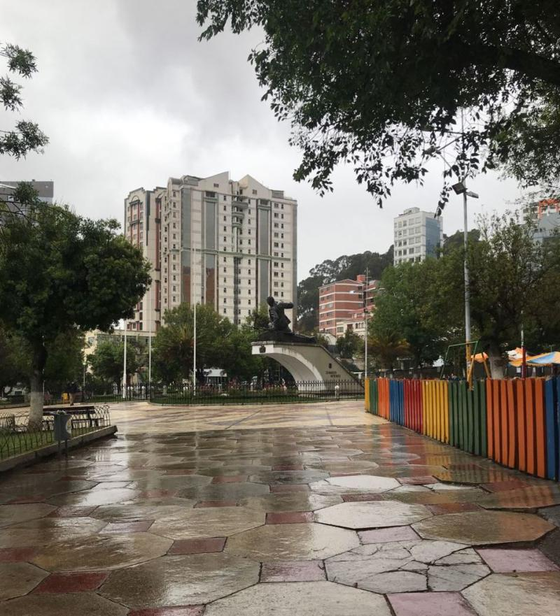Regen in La Paz am Wahltag