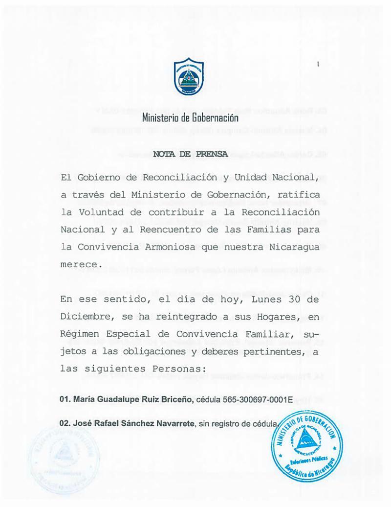 Die erste Seite der Bekanntmachung der Regierung, 91 Gefangene freizulassen