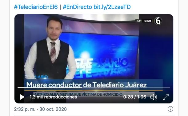 Arturo Alba Medina bei seiner letzten Sendung am 30. Oktober 2020 (Screenshot)
