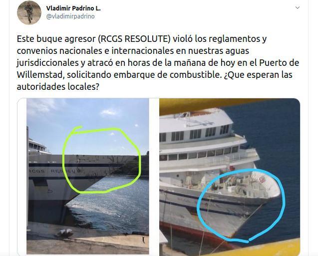 """Tweet des venezolanischen Verteidigungsministers Padrino mit Bildern des beschädigten Bugs der """"Resolute"""""""