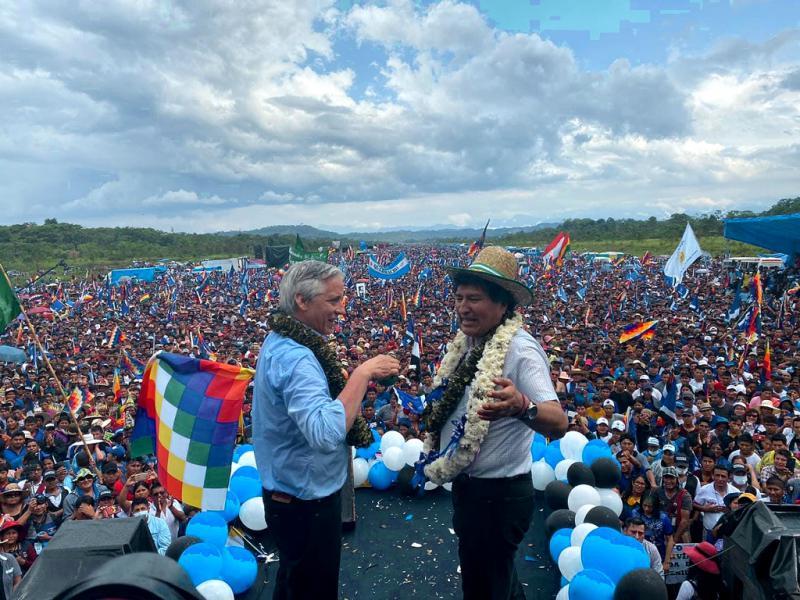 García Linera und Morales bei ihrer Rückkehr aus dem Exil im November 2020