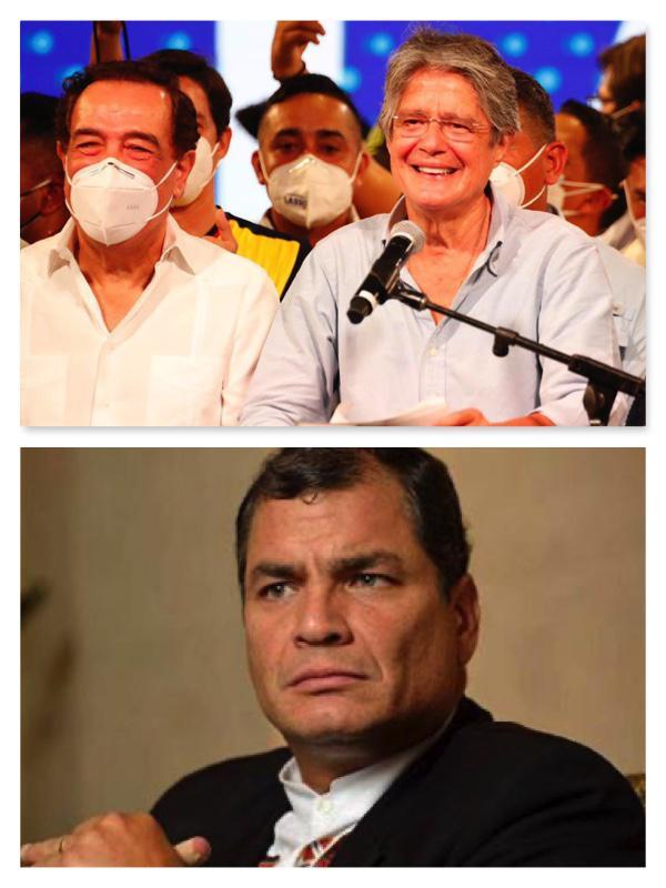 Der zukünftige Präsident Guillermo Lasso (oben rechts), Jaime Nebot (oben links) und der ehemalige Präsident Rafael Correa (unten) konnten sich schlussendlich nicht auf einen Pakt einigen