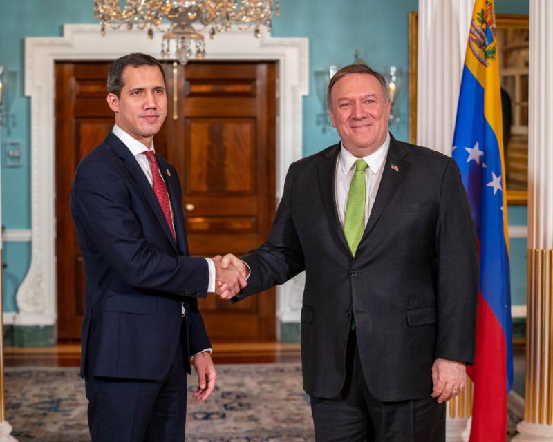 Gesten der Anerkennung nicht nachhaltig: Hier Juan Guaidó mit Mike Pompeo, früher US-Außenminister unter Donald Trump