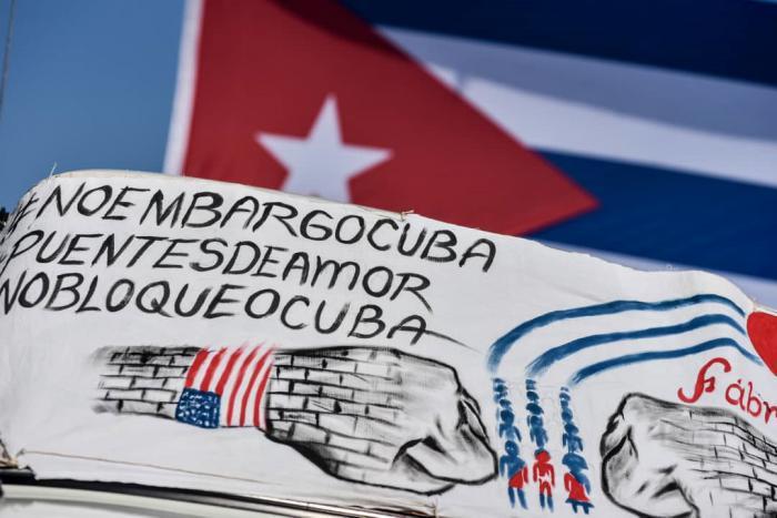 Protest in Havanna gegen die Kuba-Blockade der USA