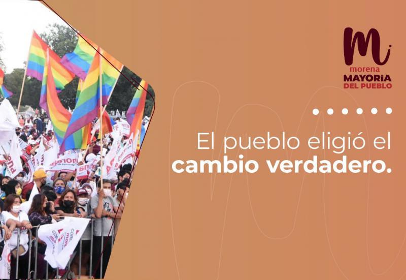 """""""Das Volk hat den echten Wandel gewählt"""", so kommentiert die linke Regierungspartei Morena das Wahlergebnis auf twitter"""