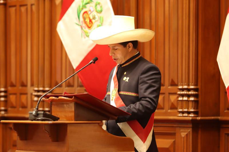 Pedro Castillo bei seiner Rede an die Nation
