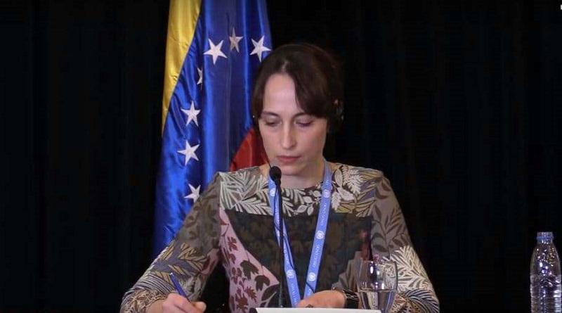 UN-Sonderberichterstatterin Alena Douhan bei ihrer Pressekonferenz in Caracas am 12. Februar 2021
