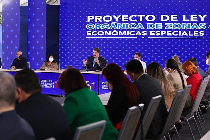 Verteidigt die ZEE: Präsident Maduro bei der Sitzung der Kommission für Wirtschaft, Finanzen und Entwicklung des Parlaments