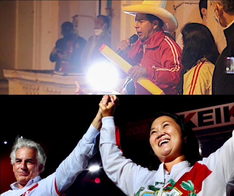 Pedro Castillo und Keiko Fujimori beim Abschluss der Wahlkampagne zur Präsidentschaft in Peru