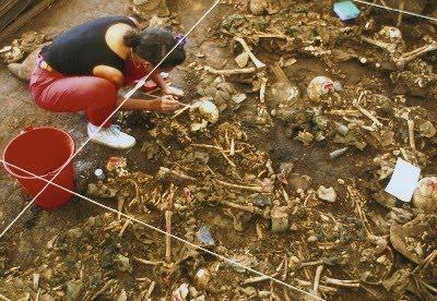 ... holt seine geschäftliche Vergangenheit ein: Exhumierung eines Massengrabes in El Salvador 1992