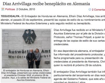 Aus dem Bericht der Zeitung La Tribuna