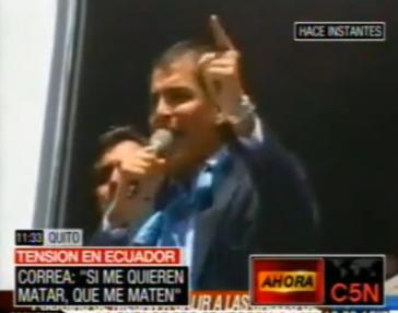 """Rafael Correa: """"Wenn ihr den Präsidenten töten wollt: Hier bin ich!"""""""