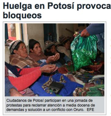 Zeitungsbericht: Streikende in Potosí halten Protest aufrecht