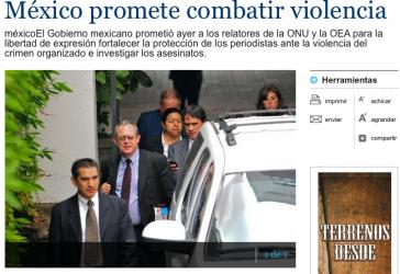 """Im medialen Interesse: UNO-Mann Frank La Rue in der Tageszeitung """"Prensa Libre"""""""