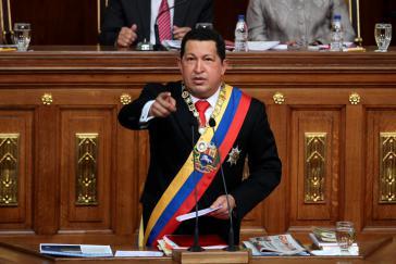Präsident Hugo Chávez in der Nationalversammlung
