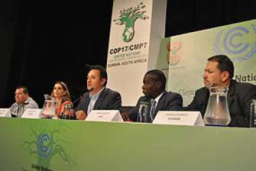 Pressekonferenz der ALBA-Staaten am Dienstag in Durban, Südafrika