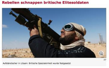 Titel zur Verhaftung des SAS-Kommandos bebildert Spiegel-Online mit moderner Boden-Luft-Rakete in der Hand von Aufständischen