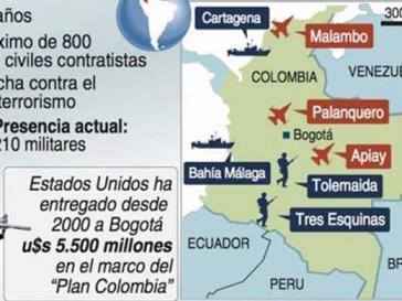 Karte der US-Militärbasen in Kolumbien