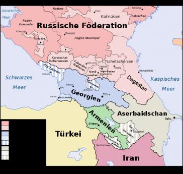 Karte der abtrünigen Gebiete in Georgien