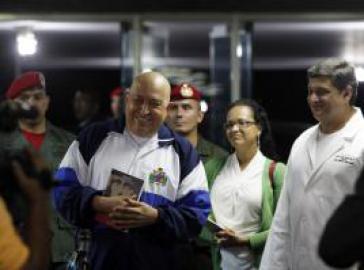 Chávez bei der Ankunft im Hospital