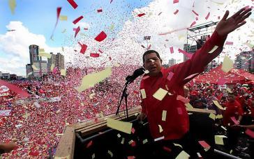 Der venezolanische Präsident Hugo Chávez bei einer Kundgebung