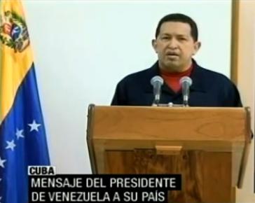 Hugo Chávez bei seiner Ansprache aus Kuba
