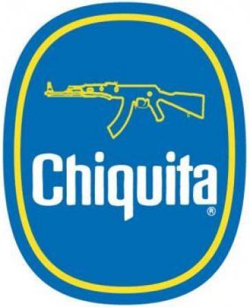 Bildmontage des Chiquita-Logos mit Maschinengewehr