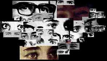 Collage aus Bildern verschwundener Menschen in Kolumbien