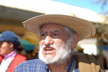 Hugo Blanco Caldos auf dem IV. kontinentalen Gipfel der Indigenas in Abya Yala, Peru, im Jahr 2009