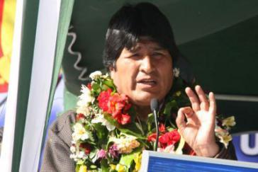Evo Morales bei seiner Rede am Samstag